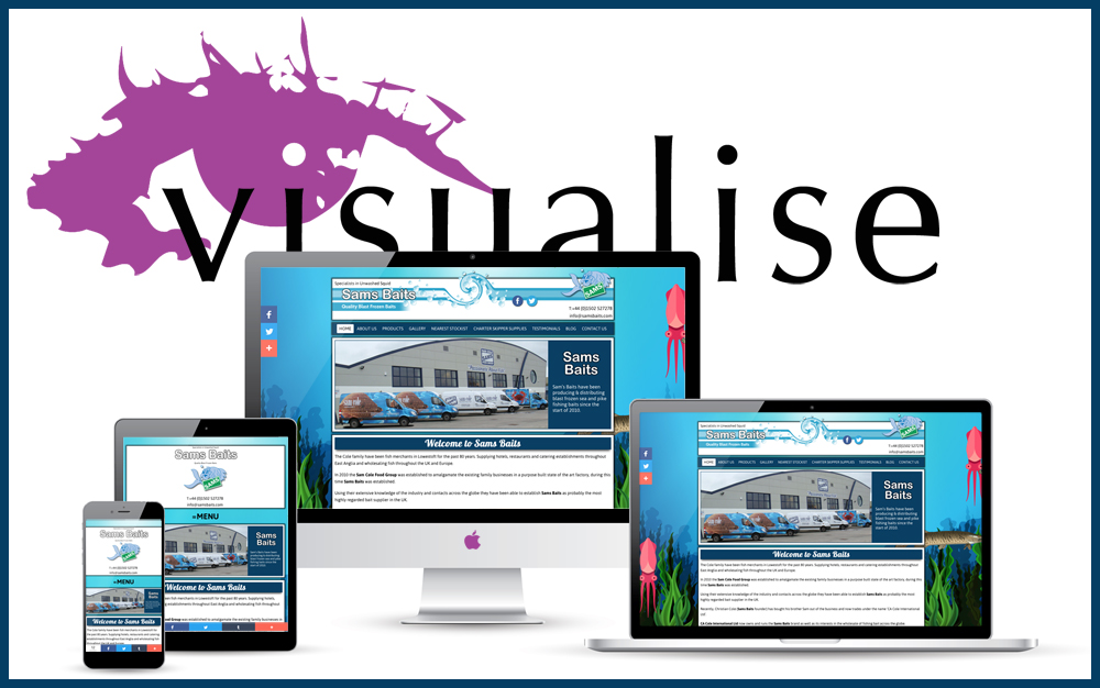 The BRAND NEW fully responsive Sam's Baits website is now LIVE! Thanks to Visualise Creative, web design company in Norwich,